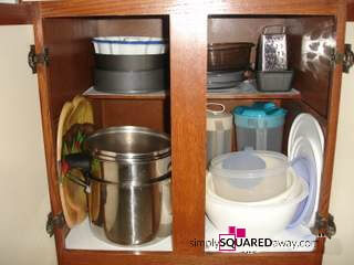 Professional organizers do not have the perfect home. I have a cabinet that is out of control. I just know you probably have an area like it too, so I am happy to make you feel better knowing the 'professional organizer' has a cabinet like this!