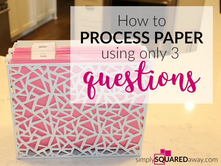 Learn how to process paper using only three HOW questions. Keep your paper organized and your counters clutter free!