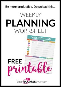 Use this weekly planning worksheet to help you prioritize your tasks and plan your week. It includes an area for meal planning, laundry, and cleaning tasks along with categories for your to-do tasks.