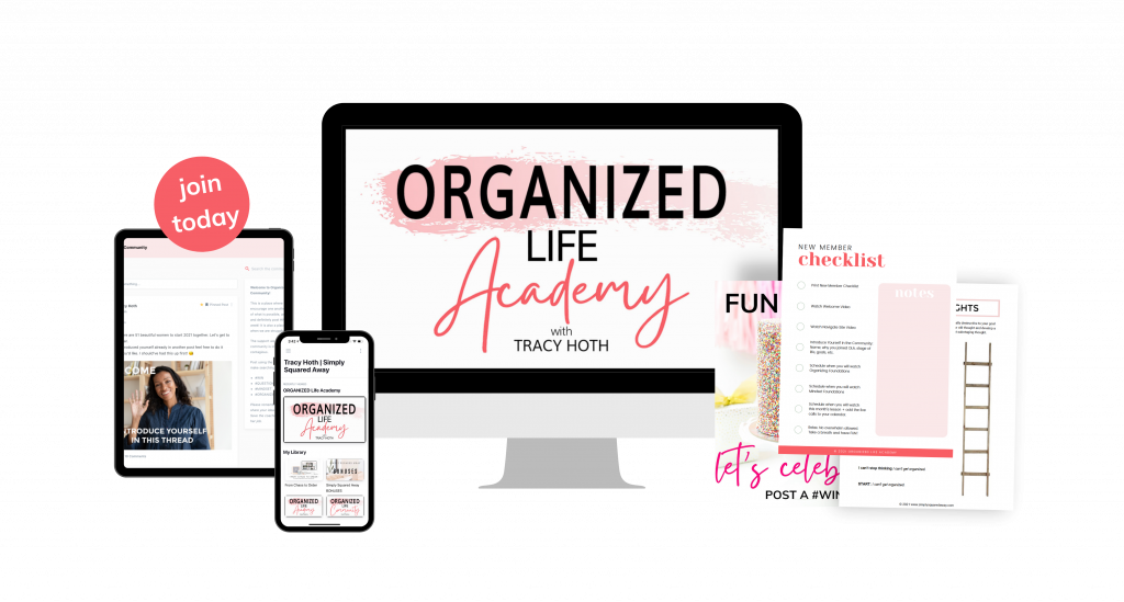 Get organized once and for all! Join us in Organized Life Academy where we learn the organizing AND the mindset foundations and practice becoming the organized person who creates an organized life.