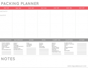 Download my free packing planner PDF to help you get organized next time you pack your suitcase for a trip.