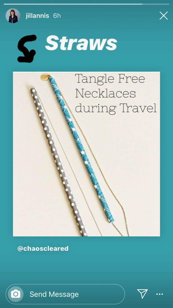 Do your necklaces or chains get tangled when traveling. Next time pack your jewelry with straws. Organize your jewelry when you pack and keep the tangles out.
